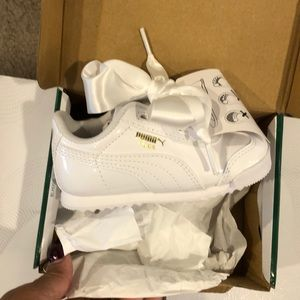 White Patent Leather Pumas